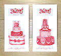Set of art cake or dessert banners. Royalty Free Stock Photo