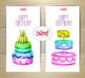 Set of art cake or dessert banners.  labels design Royalty Free Stock Photo