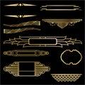 Art Deco set of nine geometric labels