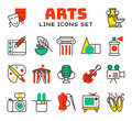 Set of art icons in flat design camera picture brush palette entertainment symbols and artist ink graphic color Royalty Free Stock Photo