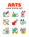 Set of art icons in flat design camera picture brush palette entertainment symbols and artist ink graphic color