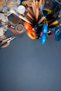 Set of art tools multiple on a gray background Royalty Free Stock Photography