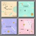 Set of artistic colorful cards. Memphis trendy style. Covers with flat geometric pattern. Royalty Free Stock Photo