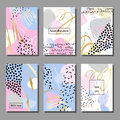 Set of artistic colorful universal cards. Memphis style. Royalty Free Stock Photo
