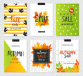 Set of artistic creative autumn sale cards. Design for sale and special offer. Vector templates for poster, card, tag