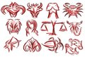 Set of artistic zodiac signs isolated in red tones illustration representing the twelve sings as tribal tattoo Stock Image