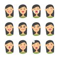 Set of asian emoji character. Cartoon style emotion icons. Isolated girl avatars with different facial expressions. Flat illustrat