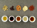 Set of asian herbal tea. Chrysanthemum, Roselle, quince, ginger, Royalty Free Stock Photo