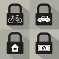 Set of asset security concept vector illustration Royalty Free Stock Photography