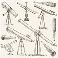 Set of astronomical instruments, telescopes oculars and binoculars, quadrant, sextant engraved in vintage hand drawn Royalty Free Stock Photo