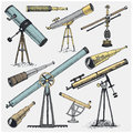Set of astronomical instruments, telescopes oculars and binoculars, quadrant, sextant engraved in vintage hand drawn