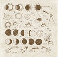 Set of astronomy sketches. Royalty Free Stock Photo