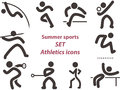 Set of athletics icons summer sports Stock Images