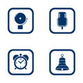 Set of audible icons alarm bell microphone alarm clock and bell vector blue flat icon sound Royalty Free Stock Photography