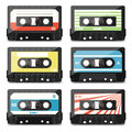 Set of audio cassettes vector illustration Royalty Free Stock Images