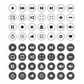 Set of audio and video symbols icons Stock Images