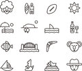 Set of australia related icons illustrated outlined relating to white background Stock Photos