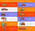 Set of auto mechanic car service repair