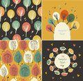 Set of autumn banners with leaves and flowers seamless Stock Photo