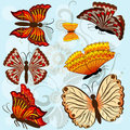 Set of autumn colored butterflies Royalty Free Stock Photography