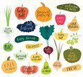 Set of autumn, harvest quotes in fruits and vegetables