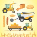 Set autumn harvesting. Farm agricultural machines and vehicle. Farming machine harvester, combine and tractor.
