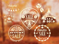 Set of Autumn Sale Labels and Signs Royalty Free Stock Photo