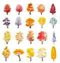 Set of autumn trees. hand drawn watercolor illustration
