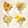 Set of autumnal bouquets Royalty Free Stock Photography