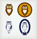 Set av kloka owls Royaltyfri Bild