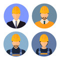 Set of avatars of the builders. Builders.