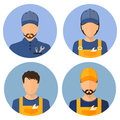 Set of avatars of the builders. Builders. Circle flat icons style. Male Builder