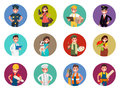 Set of avatars characters of different professions:  policeman, photographer, courier, pilot, doctor and others. Vector illustrati Royalty Free Stock Photo