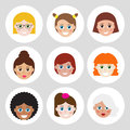 Set of avatars flat icons for web vector illustration your cute design Royalty Free Stock Photos