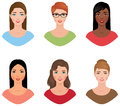 Set avatars women of different nationalities with various colors