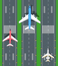 Set of Aviation Vector Airplanes on Runways