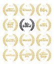 Set of awards for best film, actor, actress, director, music, picture, winner and short film with wreath and 2016 text. Black and