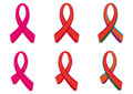 Set awareness ribbon aids and breast cancer Stock Photo