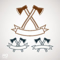 Set of axes crossed vector illustrations garden tool symbols graphic eps instrument icons two hatchets crossed Royalty Free Stock Images