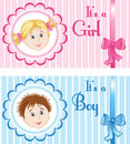 Set baby announcement cards boy girl Royalty Free Stock Image