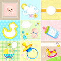 Set of Baby Arrival Card Royalty Free Stock Images