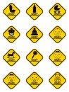 Set of Baby on board signs with baby symbol in yellow rhombus on a white background. Car sticker with warning. Royalty Free Stock Photo