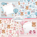 Set of baby cards. Newborn card design