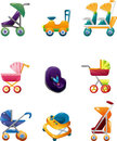 Set of baby carriage Stock Image