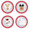 Set baby Christmas stickers. Collection of badges labels Royalty Free Stock Photo