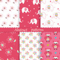 Set of baby cute seamless patterns
