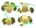 Set of baby food with broccoli jars pureed isolated Stock Photo