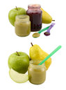 Set of baby food jars with fruit spoons apple and pear isolated Stock Photography