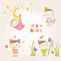 Set of Baby Girl - for Baby Shower or Arrival Card Royalty Free Stock Photo