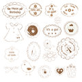 Set of baby girl stamps for scrapbooking Royalty Free Stock Photo